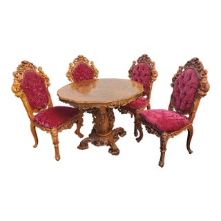 Antique Carved & Inlaid Rococo Revival Italian Round Dining Set-Set of 5 For Sale