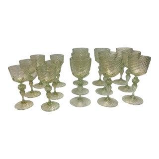 Venetian Wine Glasses 15 Piece Set 1960's For Sale