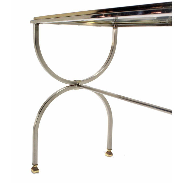Very nice U-shape legs mid-century modern chrome brass and glass console table in style of Mason Jansen.