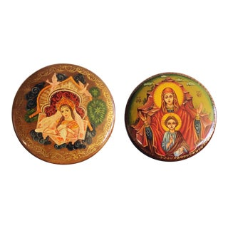 Vintage Russian Orthodox Lacquer Hand-Painted Boxes, Set of 2 For Sale