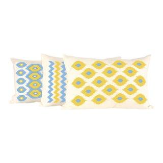 Lemon & Aqua Ikat Lumbar Linen Pillow Set- 3 Pieces For Sale