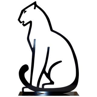 1980 Italian Minimalist Design Black Lacquered Iron Panther Silhouette Sculpture For Sale