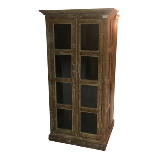 Rustic Shabby Chic Natural Teak Armoire For Sale