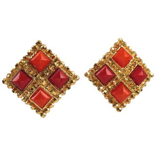 Edouard Rambaud Paris Signed Byzantine Clip on Earrings Red and Orange Color For Sale