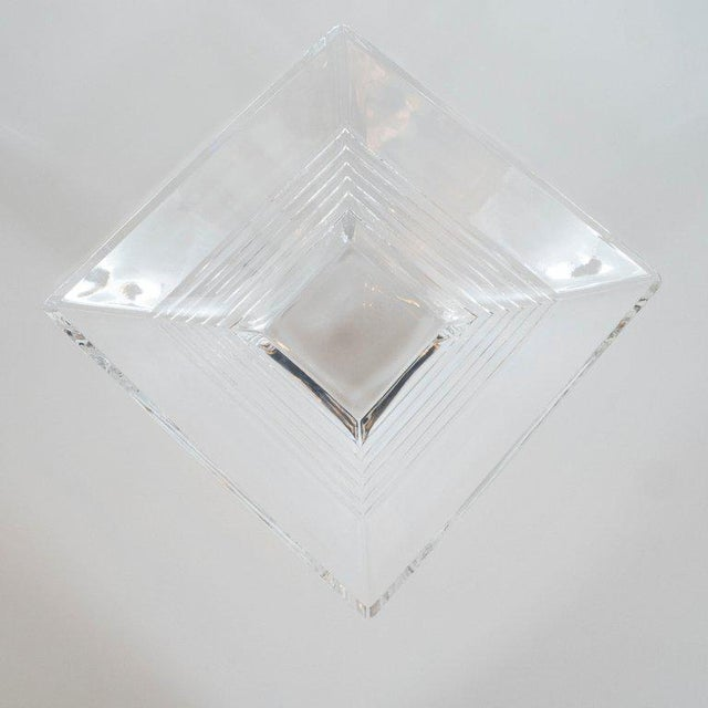 1980s Art Deco Style Stepped Translucent Crystal Decorative Bowl by Tiffany & Co. For Sale - Image 5 of 8