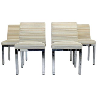 Mid Century Modern Milo Baughman for Dia Chrome Dining Chairs- Set of 4 For Sale