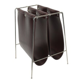 Mid-Century Modern Jacques Adnet Style Magazine Rack Chrome and Naugahyde For Sale
