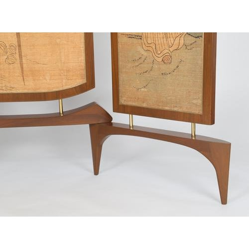 1950's VINTAGE FRANK KYLE THREE-PANEL WALNUT SCREEN For Sale In New York - Image 6 of 6