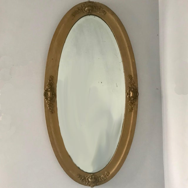 Glass Vintage Beveled Oval Gilt Mirror For Sale - Image 7 of 7