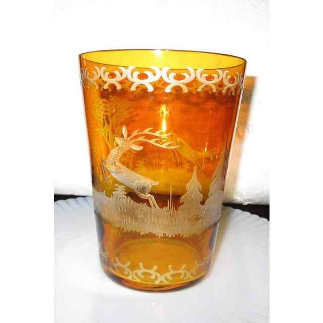 Czech Etched Amber Glass Tumbler - Image 5 of 7