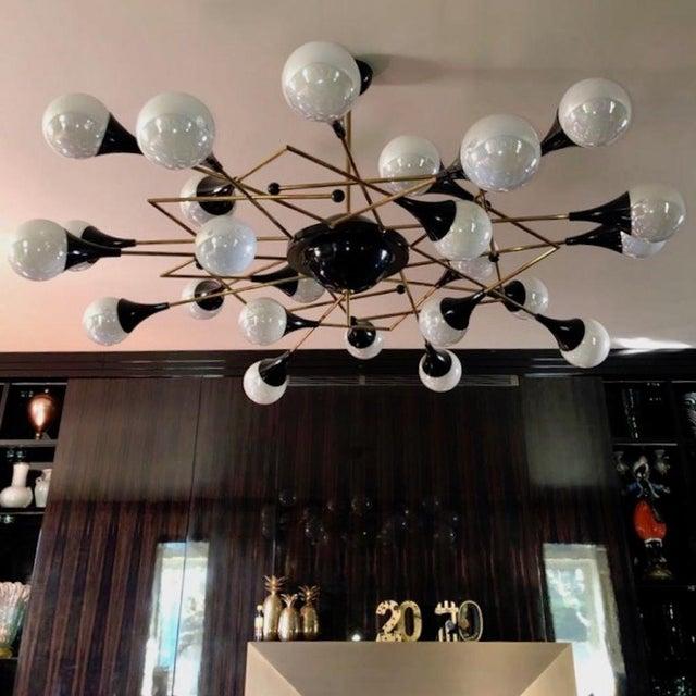 Bespoke Italian Geometric White Glass Black Lacquered Brass 24-Light Flushmount For Sale - Image 9 of 9