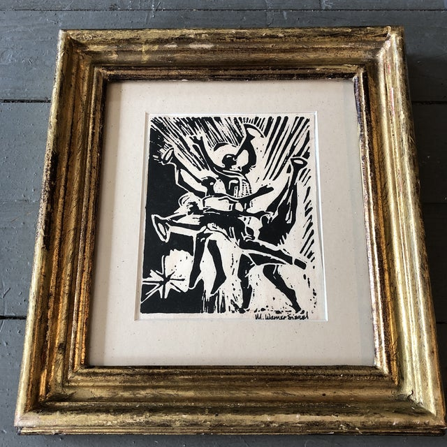 Original Signed Woodblock Print 4.5 x 5.5 Overall size with vintage gold leaf frame is 9 x 10
