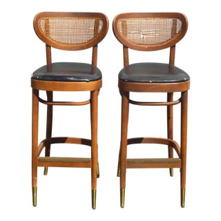 Vintage Mid Century Danish Modern Cane Black Bar Stools W Gold Foot Caps ~ a Pair For Sale