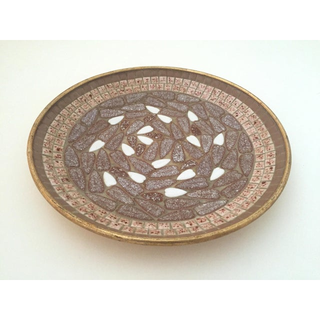 Mid-Century Modern Vintage Mid Century Modern Handcrafted Multi Tone Brown Mosaic Tile Large Bowl For Sale - Image 3 of 9