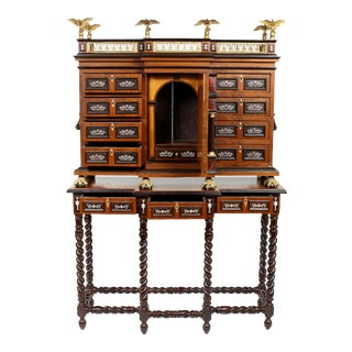 Renaissance Style Spanish Vargueno Cabinet On Stand For Sale