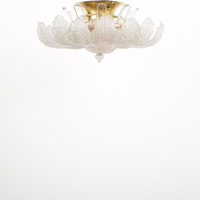 Mid-Century Modern Great Barovier Toso Flush Mount or Chandelier Glass Brass, Italy Mid Century For Sale - Image 3 of 13