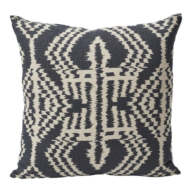 Charcoal Schumacher Asaka Ikat Linen Print Double-Sided Pillow For Sale - Image 8 of 9