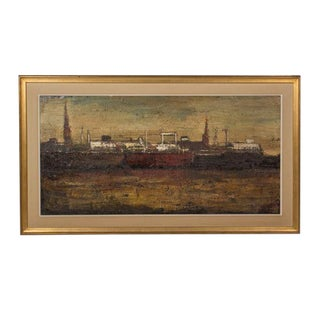 Early 19th Century Antique Port Antwerp Framed Painting For Sale