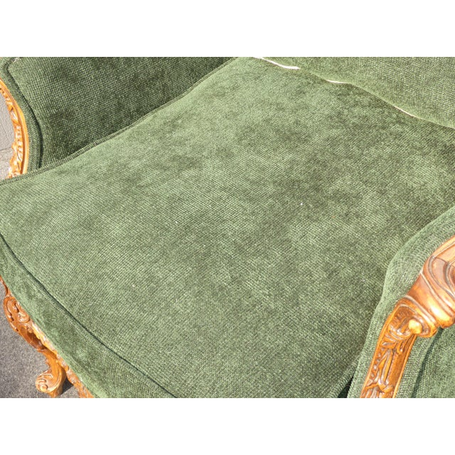Vintage French Louis XV Style Forest Green Velvet Arm Chair For Sale - Image 11 of 11