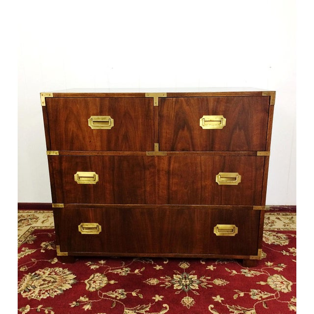Mid Century Modern Baker Furniture Bachelor's Chest Campaign Style Dresser This 4 drawer dresser is in great sturdy...