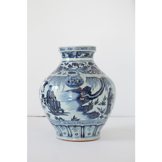 Asian Vintage Mid-Century Ming Style Chinese Blue and White Vase For Sale - Image 3 of 7