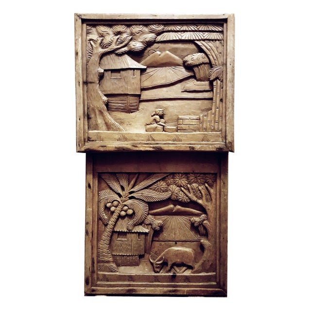 Javanese Hand Carved Solid Wood Storytelling Plaques - a Pair For Sale - Image 10 of 10