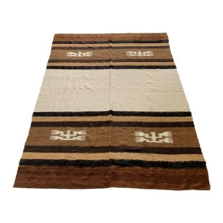 Vintage Striped Turkish Siirt Kilim Mohair Blanket Shag Rug Size 5'31 X 6'83 For Sale