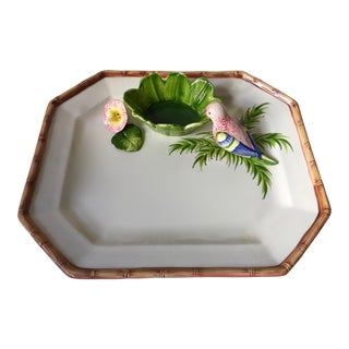 Italian Faience Parrot & Flowers Platter-Bamboo Trim For Sale