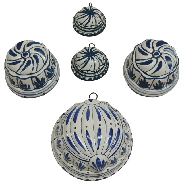 Antique Blue and White Faience Molds - Set of 5 - Image 1 of 4