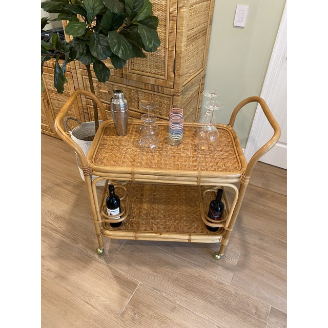 Vintage 1970s Boho Chic Bamboo Rattan Bar Cart For Sale - Image 9 of 10