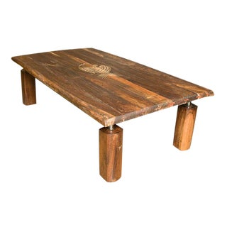 Brazilian Rosewood Coffee Table with Incised Fish For Sale