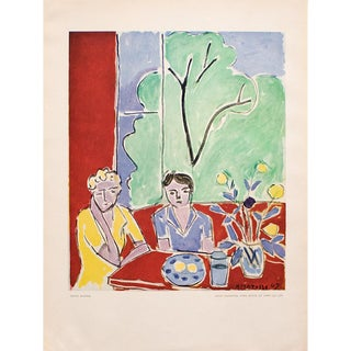 "1948 Matisse ""Two Little Girls, Red and Green Background"", Original Period French Lithograph For Sale"