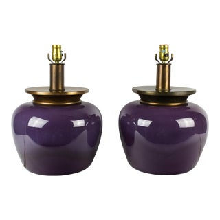 Mid-Century Royal Haeger Purple Ceramic Lamp Bases - a Pair For Sale