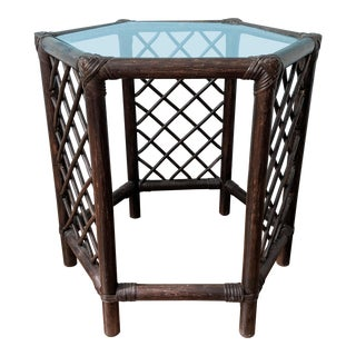 20th Century Chinoiserie Hexagon Bamboo Side Table For Sale