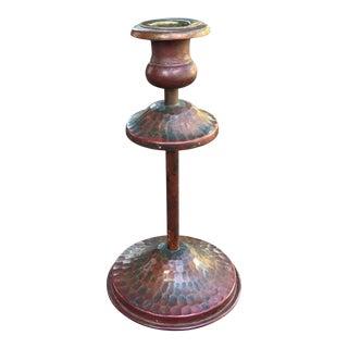 Vintage Faux Hammered Copper Candlestick For Sale
