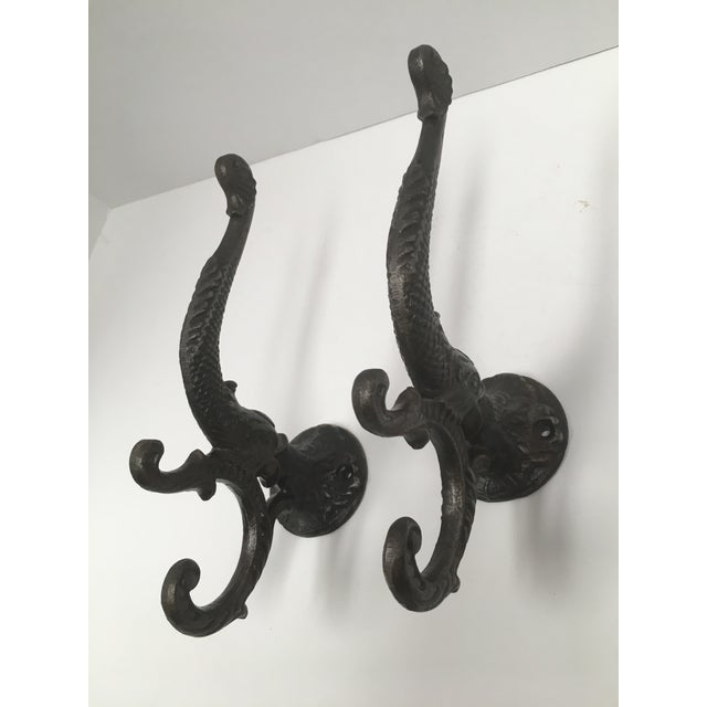 Gray Antique Iron Koi Fish Coat Hooks - a Pair For Sale - Image 8 of 10