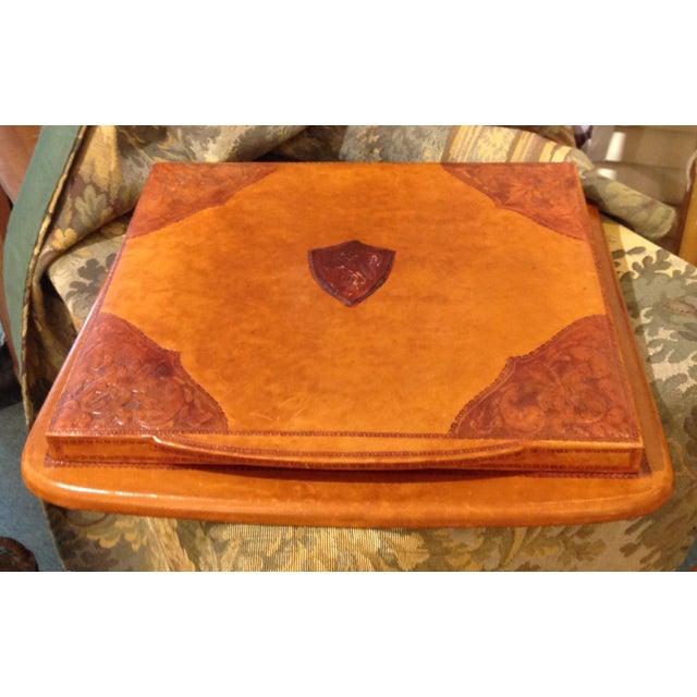 Italian Italian Leather Desk Blotter For Sale - Image 3 of 3