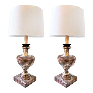 Pair of Small Italian Silver Gilt Table Lamps