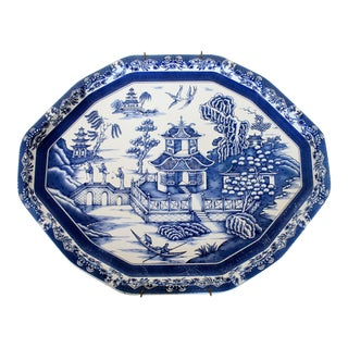 Vintage Blue & White Daher Tray For Sale