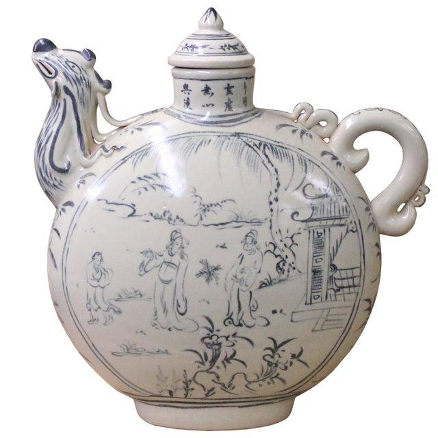 Ceramic Chinese Oriental Ceramic Cream White Outline Graphic Bird Head Jar For Sale - Image 7 of 8