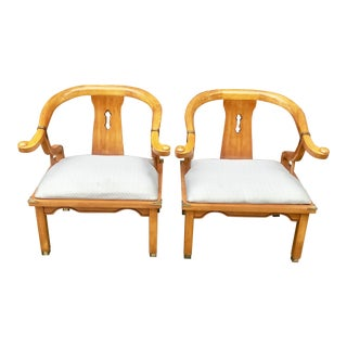 1970s Vintage James Mont Style Ming Chairs- A Pair For Sale