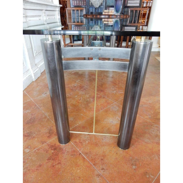 Mid-Century Modern Glass and Metal Dining Table For Sale - Image 4 of 8