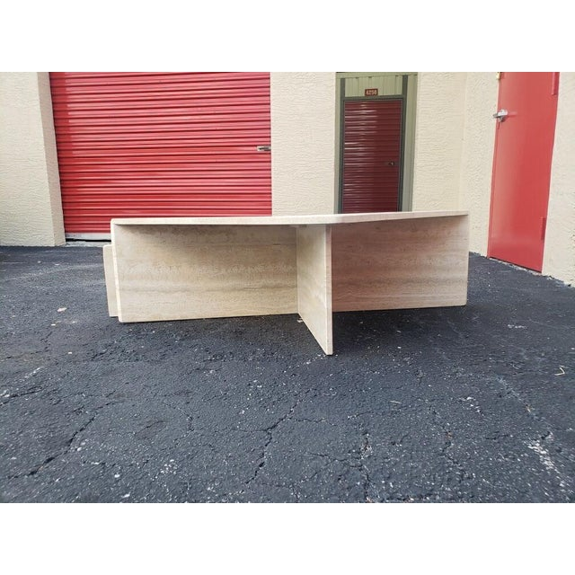Stone Post-Modern Italian Travertine Coffee Table - 2 Pieces For Sale - Image 7 of 9