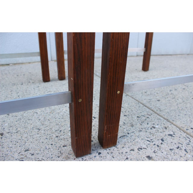 1970's Modern Chrome and Walnut Side Table For Sale - Image 7 of 8