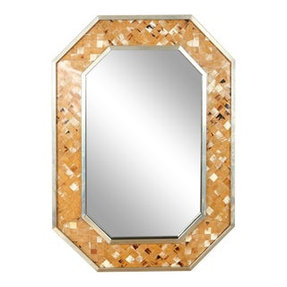 Bone Metal Mirror in the Manner of Karl Springer For Sale