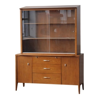 1950s Mid-Century Modern Drexel Profile Credenza and Hutch For Sale
