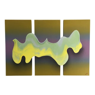 Abstract Yellow Wave Painting For Sale