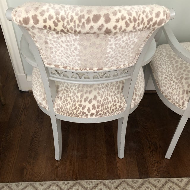 White Cowtan & Tout Velvet Leopard Upholstered Gray Arm Side Chairs - a Pair For Sale - Image 8 of 9