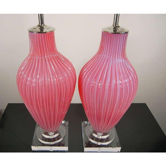 The Marbro Lamp Company Marbro Murano Opaline Glass Table Lamps Pink For Sale - Image 4 of 10