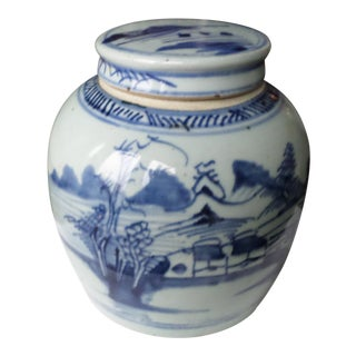 Chinese Blue and White Ginger Jar, 19th Century For Sale